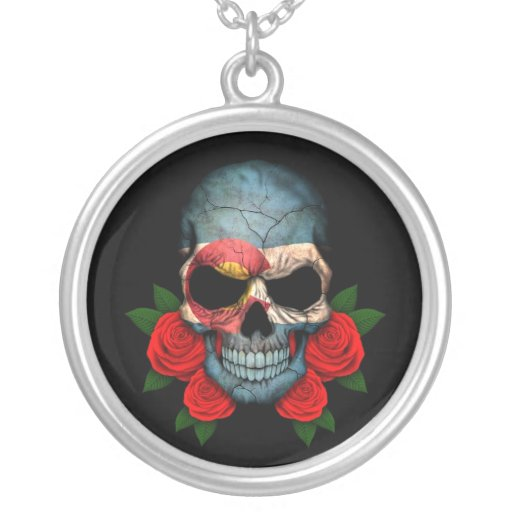 Colorado Flag Skull with Red Roses Necklaces
