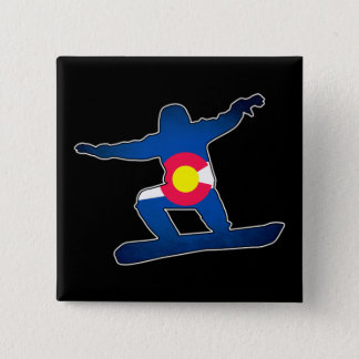 Colorado flag snowboarder square button