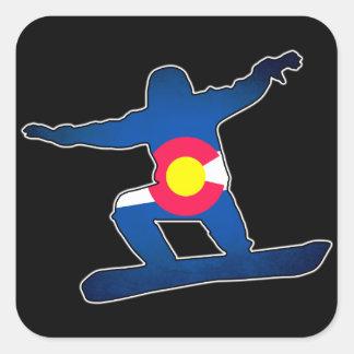 Colorado flag snowboarder square stickers