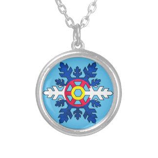 Colorado flag snowflake round necklace