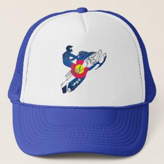 Colorado flag snowmobile trucker hat