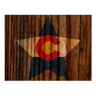 Colorado Flag Star on Wood theme Postcard