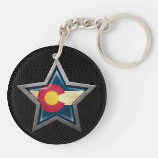 Colorado Flag Star with Steel Mesh Effect Keychain