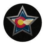 Colorado Flag Star with Steel Mesh Effect Poker Chips Set