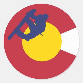 Colorado Flag Sticker - Snowboarder - Snowboard