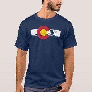 Colorado Flag T-Shirt - Skier - Iron Cross - Rocky