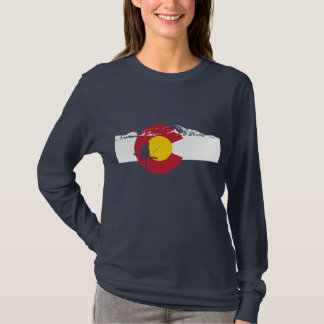 Colorado Flag T-Shirt - Skier - Rocky Mountains
