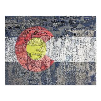 colorado flag textured wall postcard