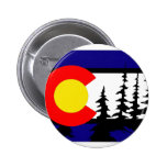 Colorado Flag Tree Silhouette 2 Inch Round Button