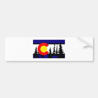 Colorado Flag Tree Silhouette Bumper Sticker