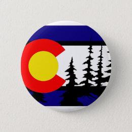 Colorado Flag Tree Silhouette Button