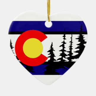 Colorado Flag Tree Silhouette Ceramic Ornament