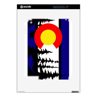 Colorado Flag Tree Silhouette Decals For iPad 2