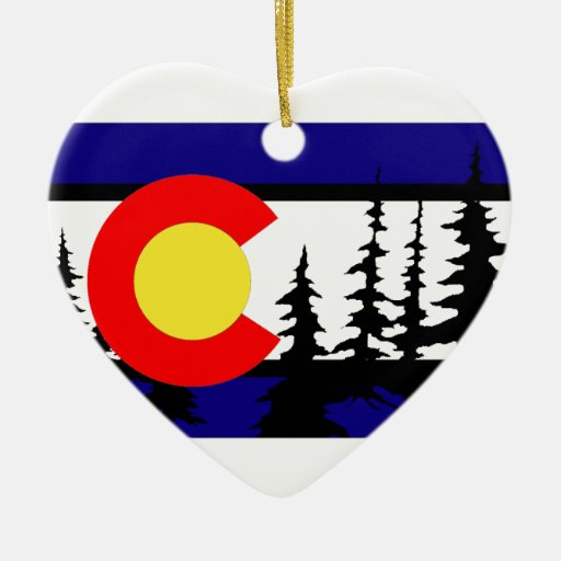 Colorado flag tree silhouette double sided heart ceramic