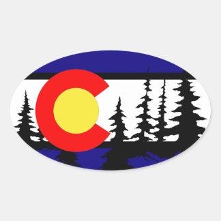 Colorado Flag Tree Silhouette Oval Sticker