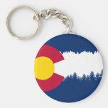Colorado Flag Treeline Silhouette Basic Round Button Keychain