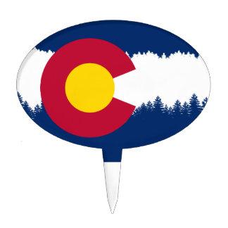 Colorado Flag Treeline Silhouette Cake Topper