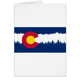 Colorado Flag Treeline Silhouette Card