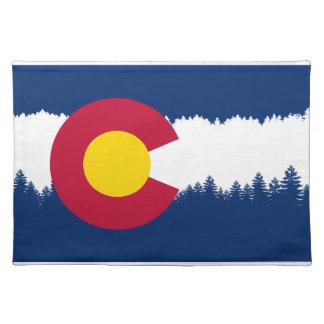 Colorado Flag Treeline Silhouette Cloth Placemat
