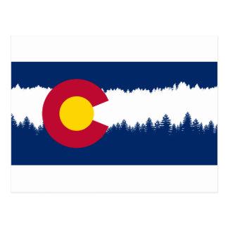 Colorado Flag Treeline Silhouette Postcard