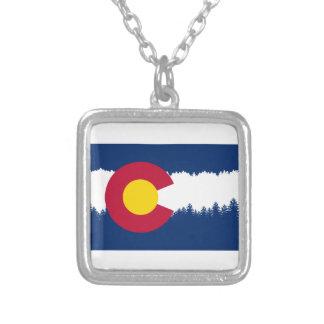 Colorado Flag Treeline Silhouette Square Pendant Necklace