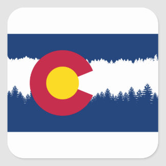 Colorado Flag Treeline Silhouette Square Sticker