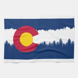 Colorado Flag Treeline Silhouette Towel