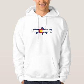 Colorado flag trout fish mens hoodie