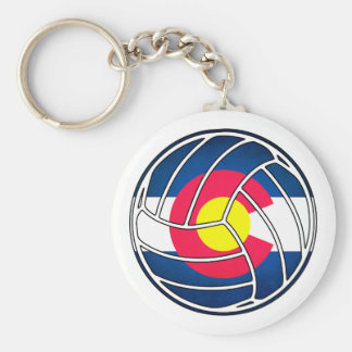 Colorado flag volleyball round keychain