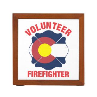 Colorado Flag Volunteer Firefighter Cross Pencil/Pen Holder