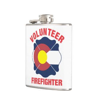 Colorado Flag Volunteer Firefighter Cross Flask