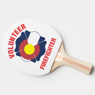 Colorado Flag Volunteer Firefighter Cross Ping-Pong Paddle