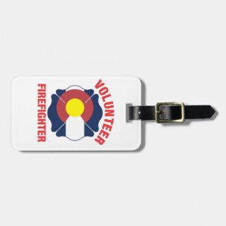 Colorado Flag Volunteer Firefighter Cross Bag Tag