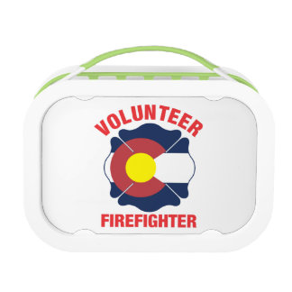 Colorado Flag Volunteer Firefighter Cross Yubo Lunch Box