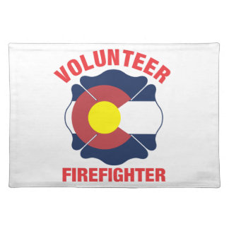 Colorado Flag Volunteer Firefighter Cross Cloth Placemat