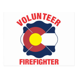 Colorado Flag Volunteer Firefighter Cross Postcard