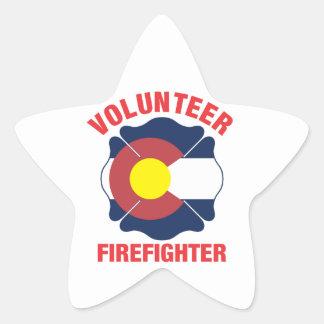 Colorado Flag Volunteer Firefighter Cross Star Sticker