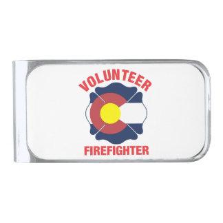 Colorado Flag Volunteer Firefighter Cross Silver Finish Money Clip