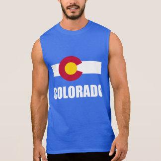 Colorado Flag White Text On Blue Sleeveless Shirts