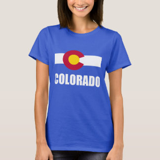Colorado Flag White Text On Blue T-Shirt