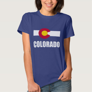 Colorado Flag White Text On Blue Tee Shirt