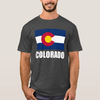 Colorado Flag White Text T-Shirt