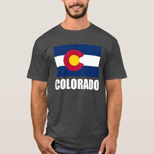 Colorado Flag White Text T_Shirt
