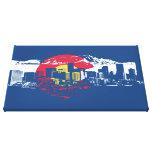 Colorado Flag with Denver Skyline and Rockies Canvas Print