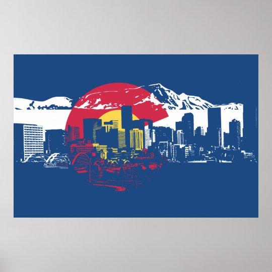 Colorado Rockies Wallpaper: Colorado Flag With Denver Skyline And Rockies Poster