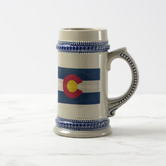 Colorado flag with mountain background beer stein