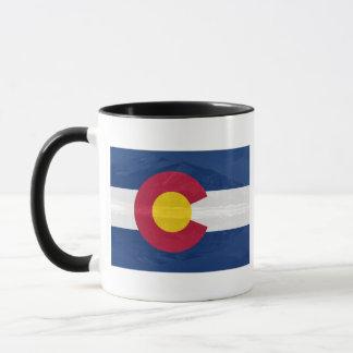 Colorado flag with mountain background mug