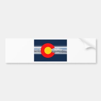 Colorado Flag with Mountains Bumper Sticker