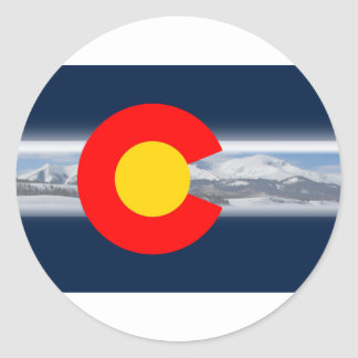Colorado Flag with Mountains Classic Round Sticker