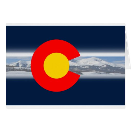 Colorado Flag with Mountains Greeting Cards